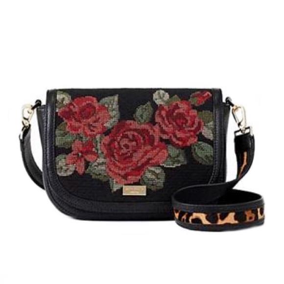HP🎉 Kate Spade Rose Floral Calf Fur Purse Bag